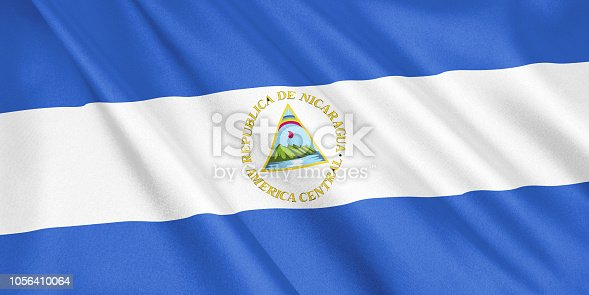 istock Nicaragua flag waving with the wind, wide format, 3D illustration. 3D rendering. 1056410064