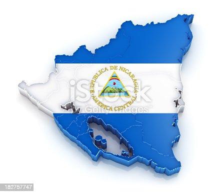 istock Nicaragua map with flag 182757747