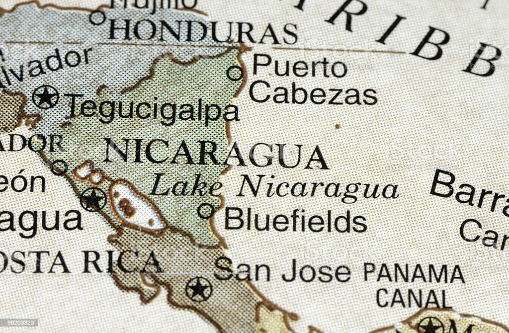 Nicaragua old style vintage map stock photo
