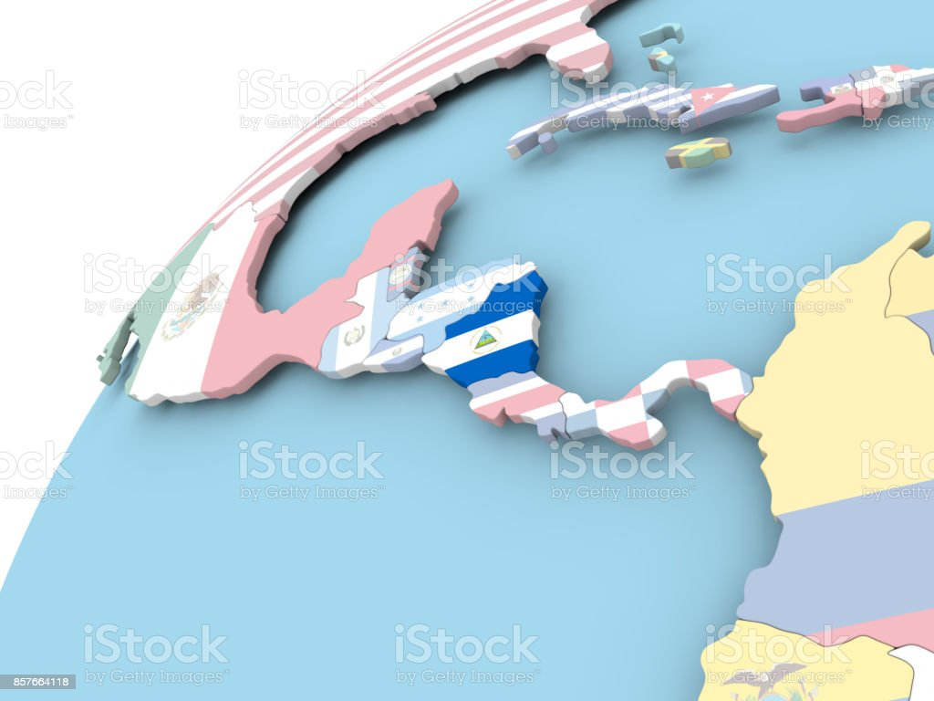 Nicaragua en globo con la bandera - foto de stock