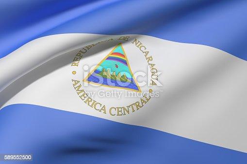 istock Nicaragua Republic flag waving 589552500