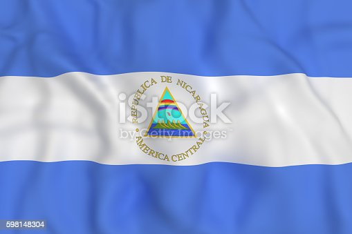 istock Nicaragua Republic flag waving 598148304