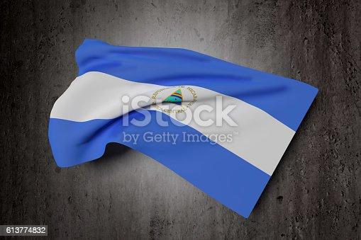 istock Nicaragua Republic flag waving 613774832