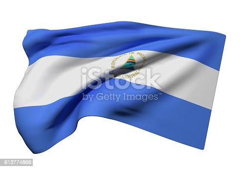 istock Nicaragua Republic flag waving 613774866