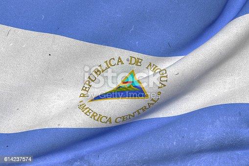 istock Nicaragua Republic flag waving 614237574