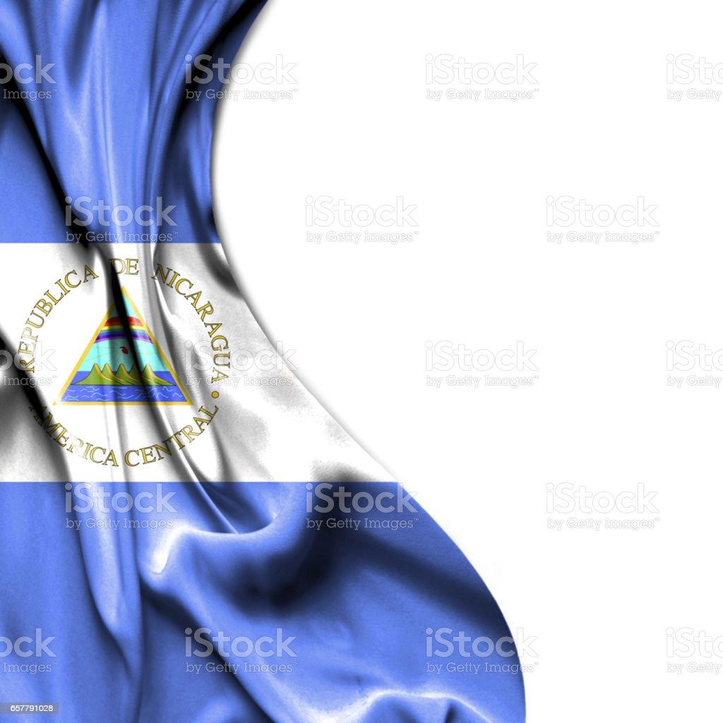 Nicaragua bandera raso aislado sobre fondo blanco - foto de stock