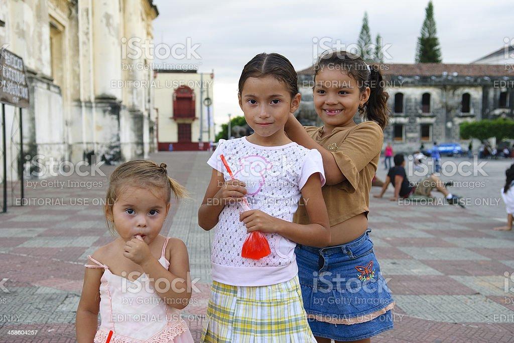 Nicaraguan children in Leon, Nicaragua stock photo
