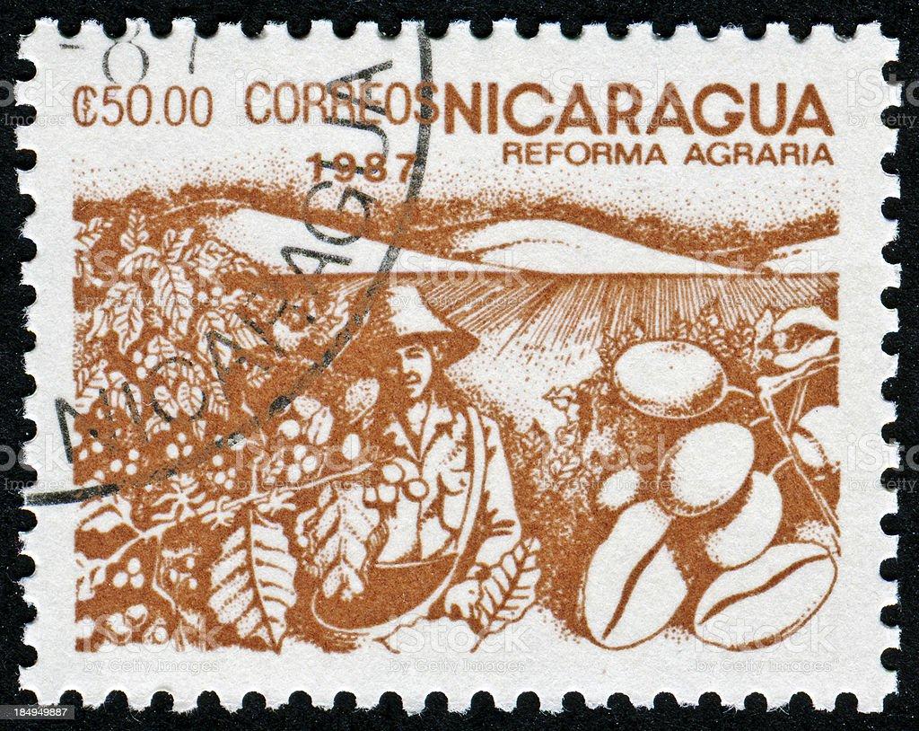Nicaraguan Coffee Stamp stock photo