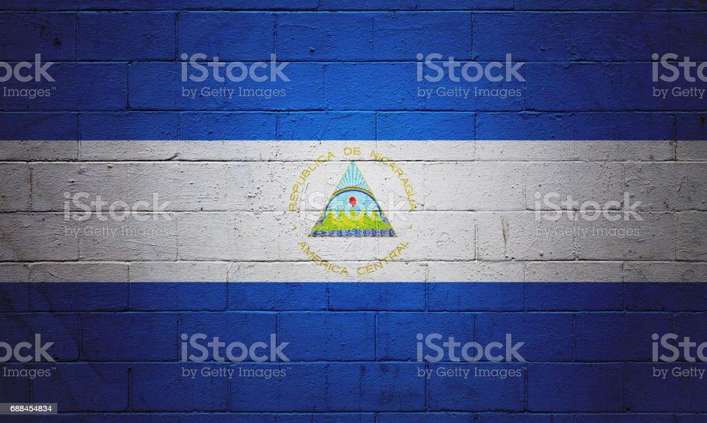 Bandera de Nicaragua pintado en una pared - foto de stock