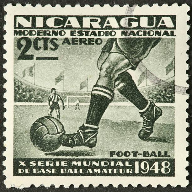 Nicaraguan football (soccer) postage stamp stock photo