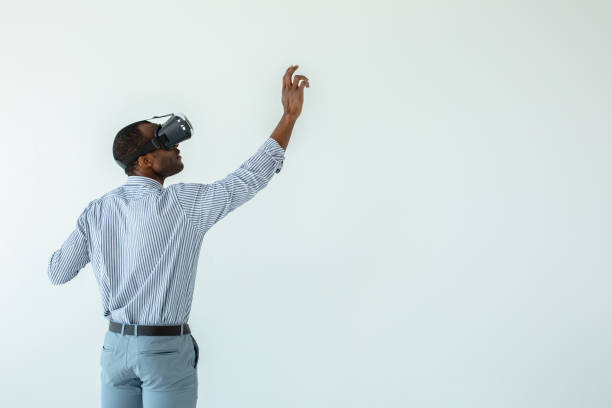 nice afro american man writing on a virtual board - ritratto 360 gradi foto e immagini stock