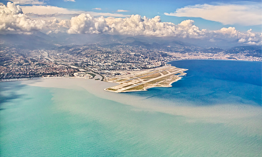 Nice airport from above, France