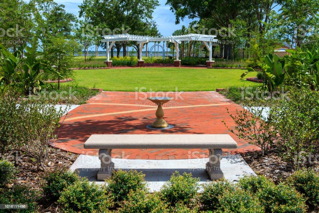 Nice amenities at Lakefront Park overlooking Lake 'Toho' stock photo