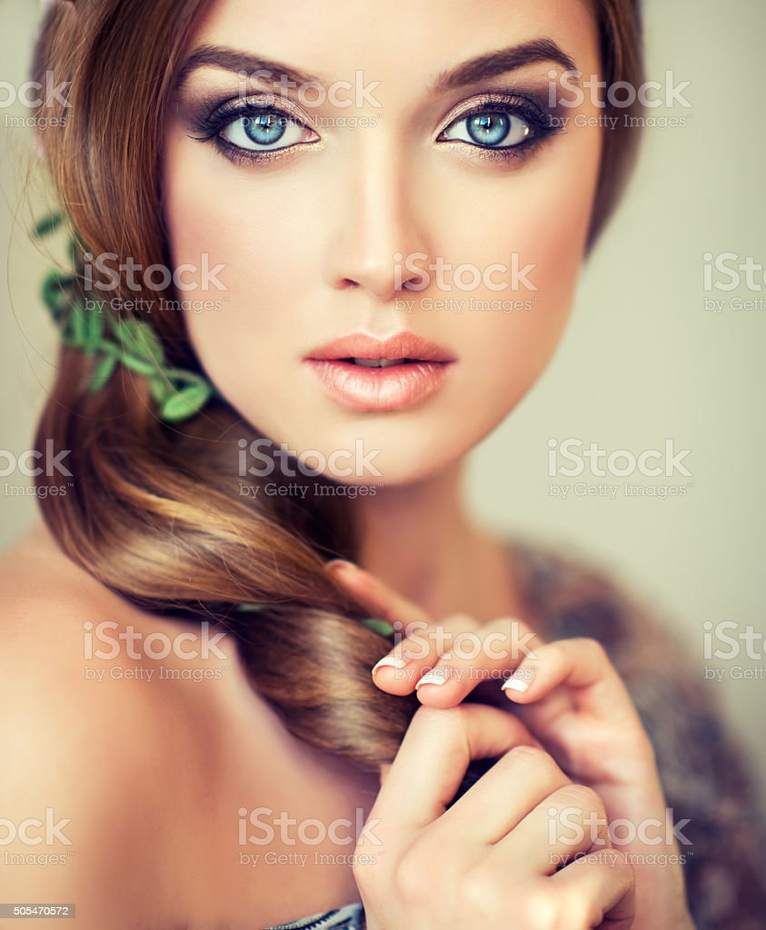 Nice and tender look of beautiful girl. stock photo