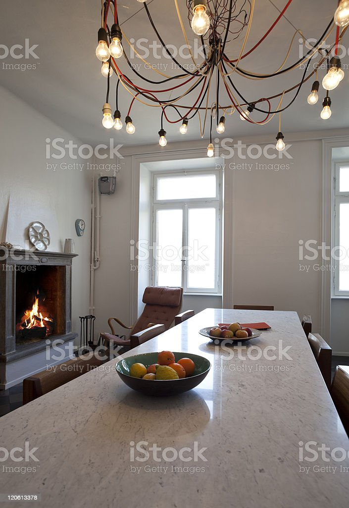nice apartment refitted, kitchen view retro furniture royalty-free stock photo