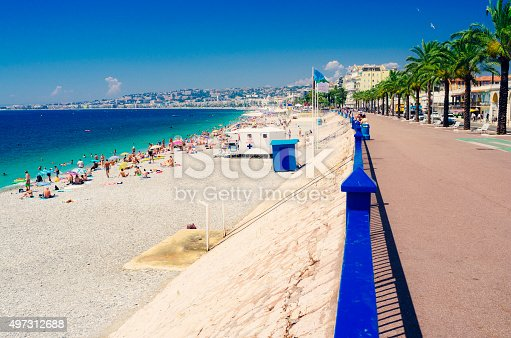 City of Nice on the French Riviera looking along the beach. Processed in AdobeRGB colorspace.