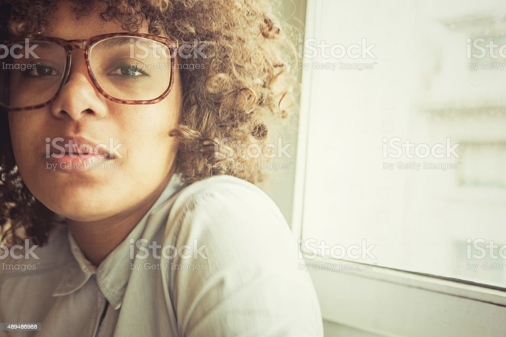 Nice black girl with vintage look royalty-free stock photo