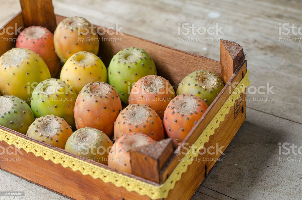 Nice box full of prickly pears. stock photo