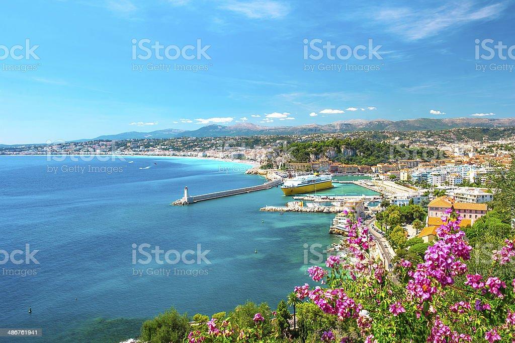 Nice city, french riviera, mediterranean sea stock photo