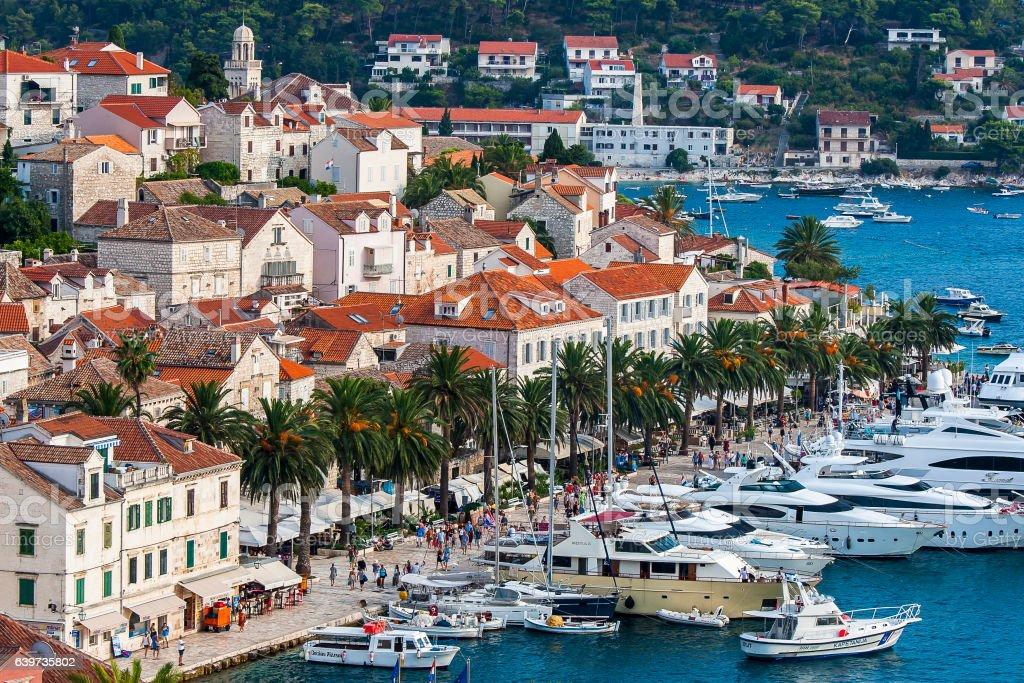 Nice City Hvar in Hvar Island in Croatia stock photo