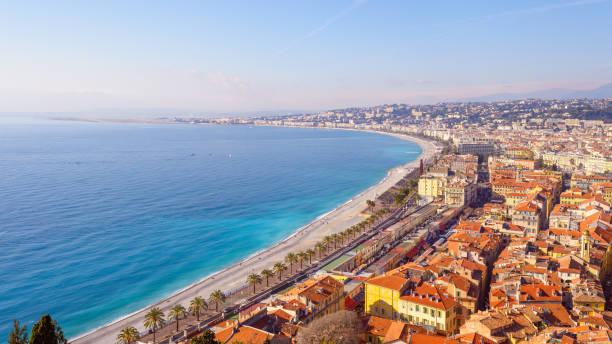 Nice City Promenade Beach and Mediterranean Sea France stock photo