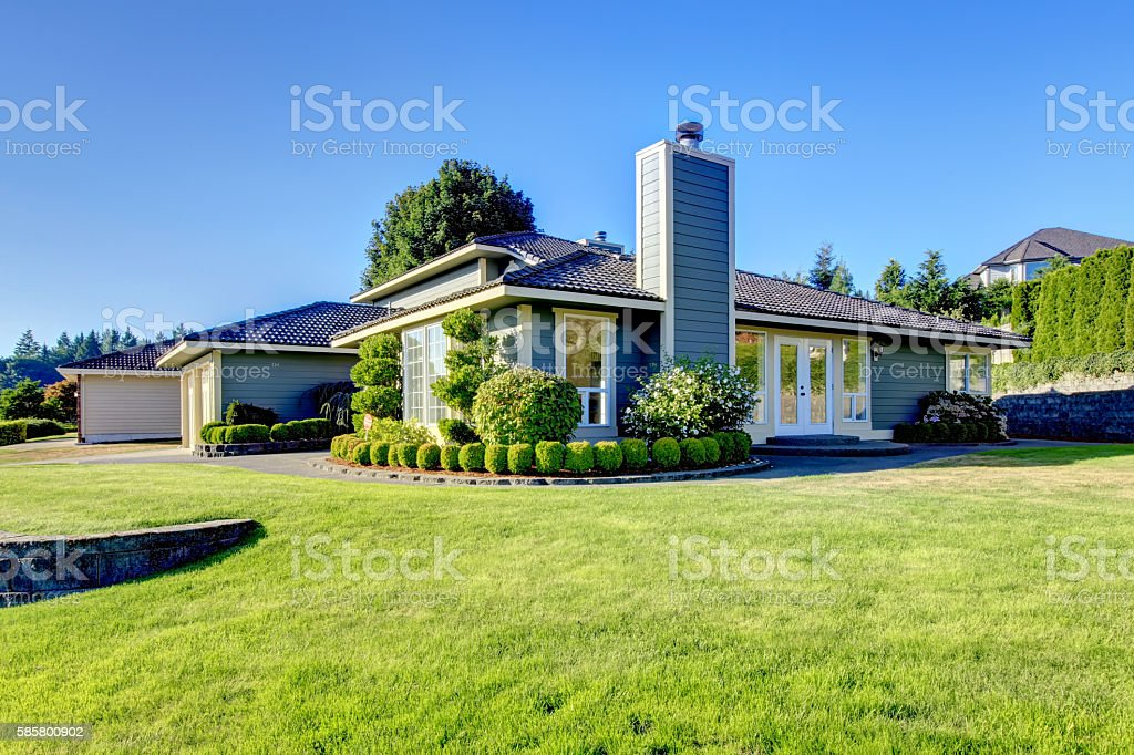 Nice curb appeal of blue house with well kept lawn – Foto