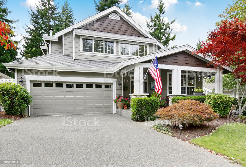 Nice Curb Appeal Of Grey House With Covered Porch Stock Photo Download Image Now Istock
