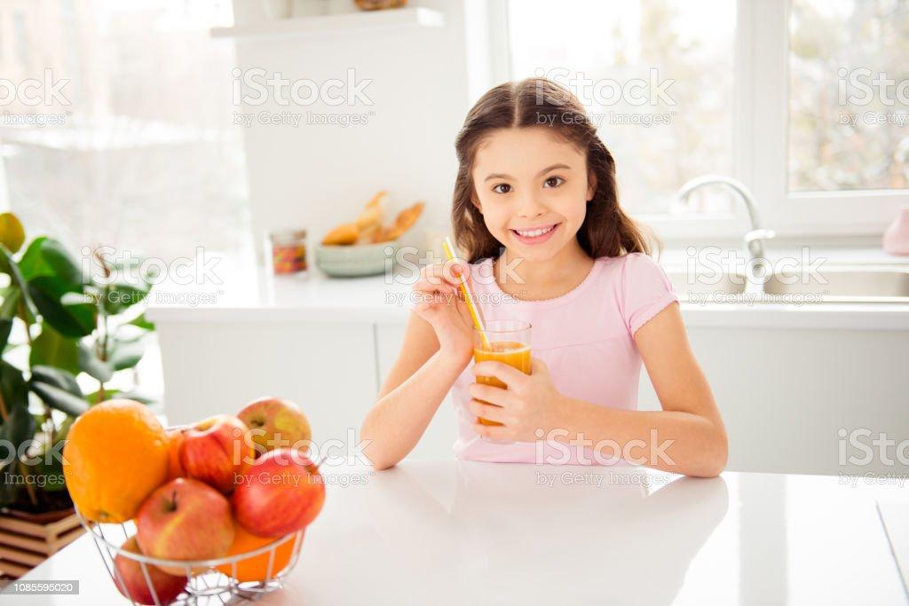 Nice cute adorable charming cheerful small little preteen girl e stock photo