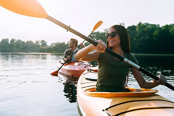 Nice day for kayaking. stock photo