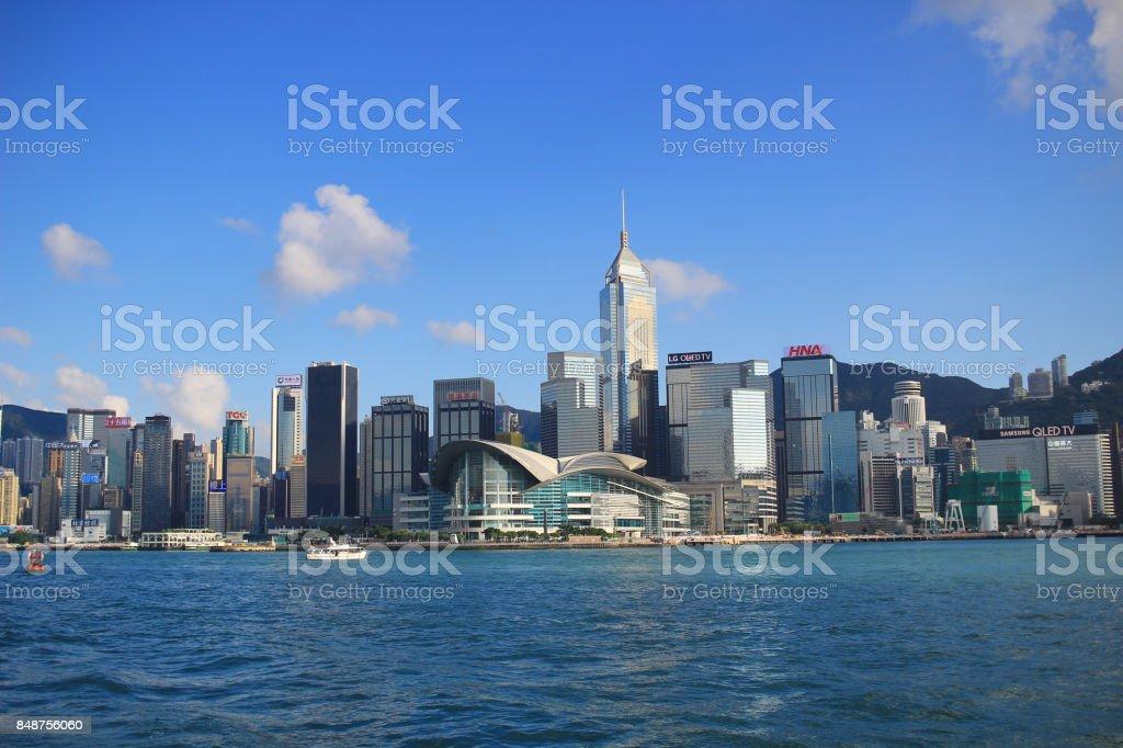 美好的一天的香港城市景觀在 2017圖像檔