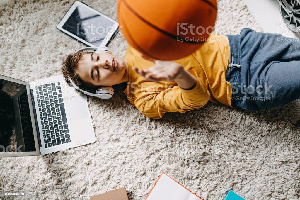 Nice day to hang out with ball stock photo