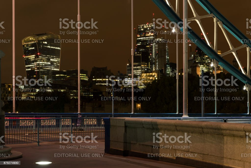 Nice details and architecture of Tower Bridge in United Kingdom stock photo