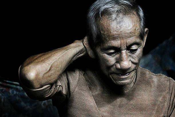 Nice emotional Portrait Image Of sad senior Man stock photo