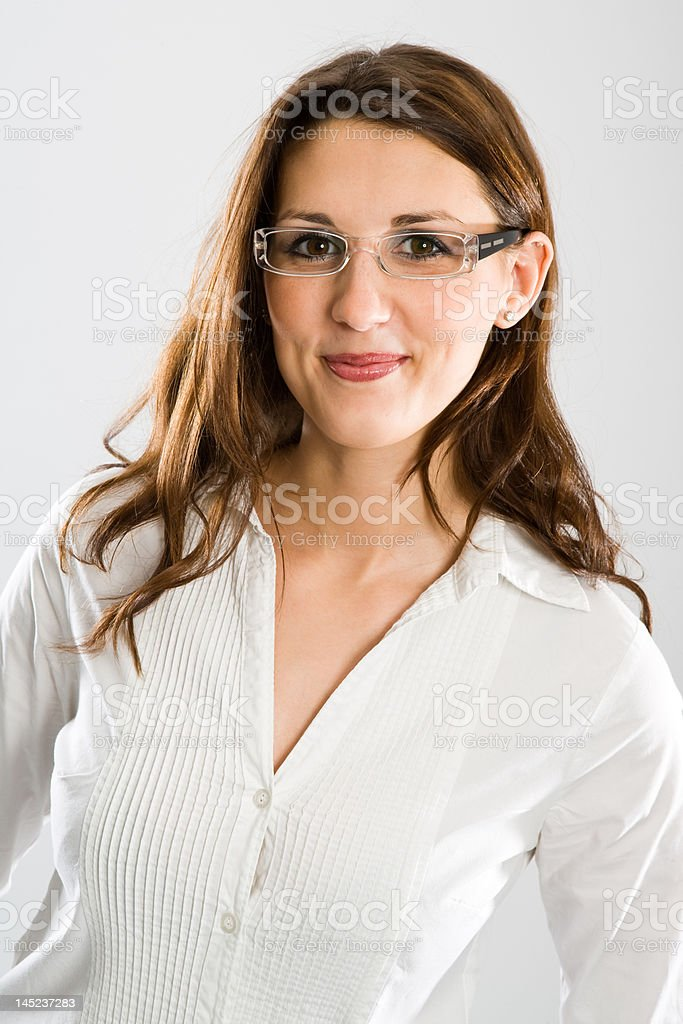 Nice female wearer of glasses stock photo