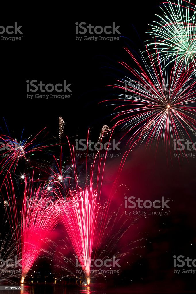 Nice fireworks over the water royalty-free stock photo