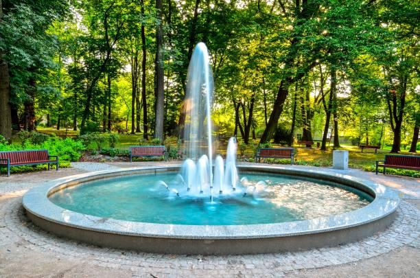belle fontaine dans le parc urbain. - fontaine photos et images de collection