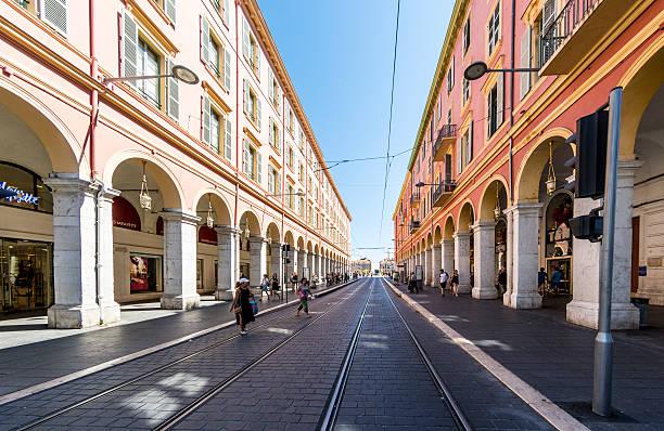 Nice, France city centre tram tracks stock photo