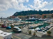 Nice, France - July 6 2019: Port harbour with yachts and boats daytime