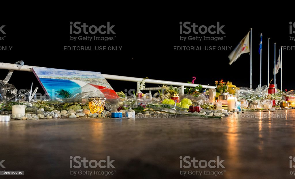 Nice, France Terrorist Attack Memorial Candles & Painting stock photo