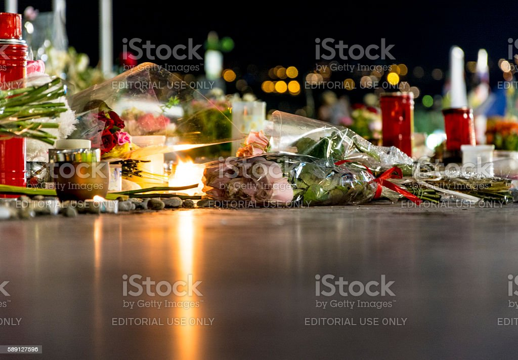 Nice, France Terrorist Attack Memorial Detail stock photo