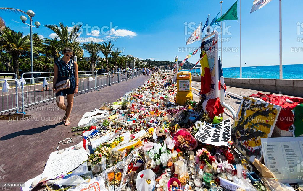 Nice, France Terrorist Attack Memorial Seafront Flowers stock photo