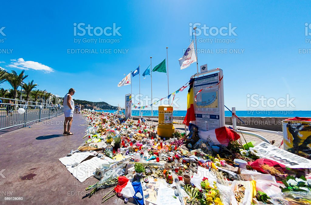 Nice, France Terrorist Attack Memorial Seafront stock photo