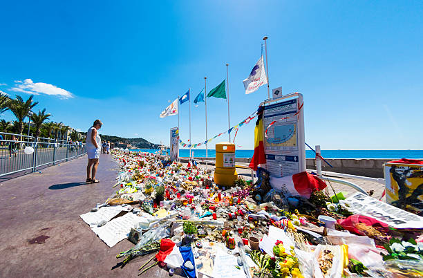 Nice, France Terrorist Attack Memorial Seafront stock photo