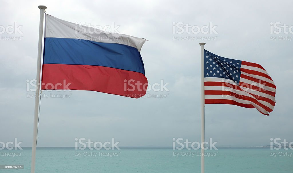 Nice - French and American flags royalty-free stock photo