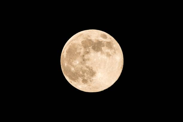 nice full moon with soft yellow color an visible craters - moon stock pictures, royalty-free photos & images