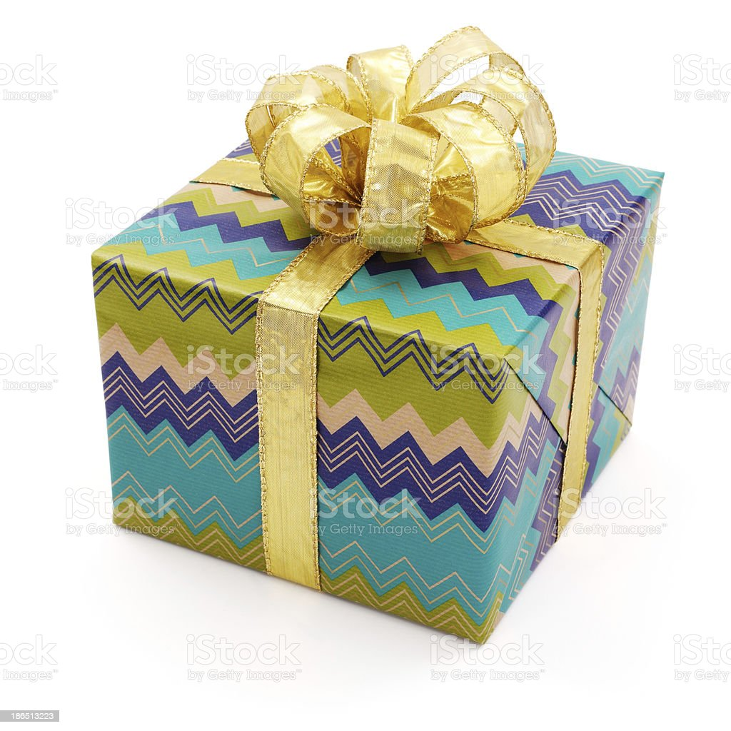 Nice gift with big golden bow royalty-free stock photo