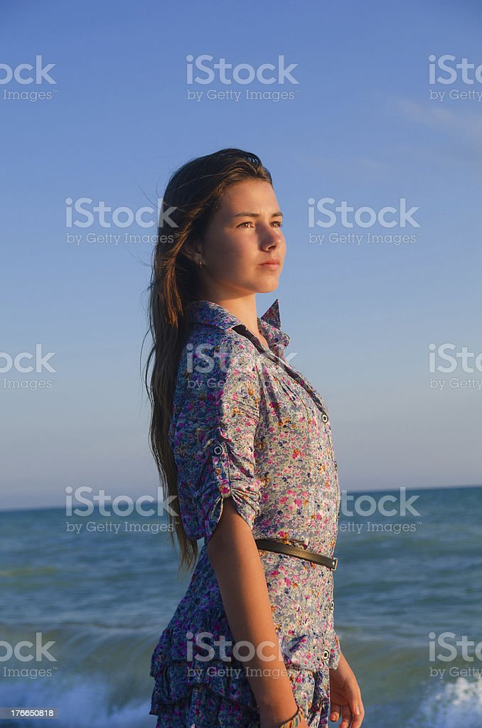 Nice girl and breath of the sea royalty-free stock photo