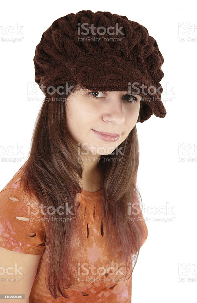 Nice girl in a brown cap royalty-free stock photo