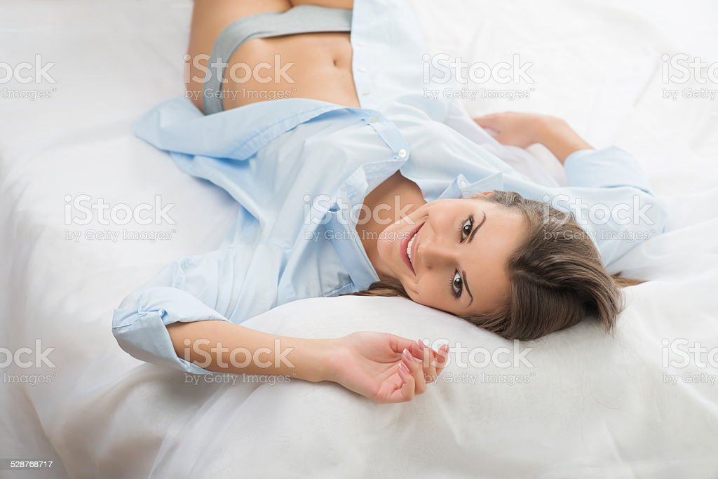 Nice girl in the morning stock photo