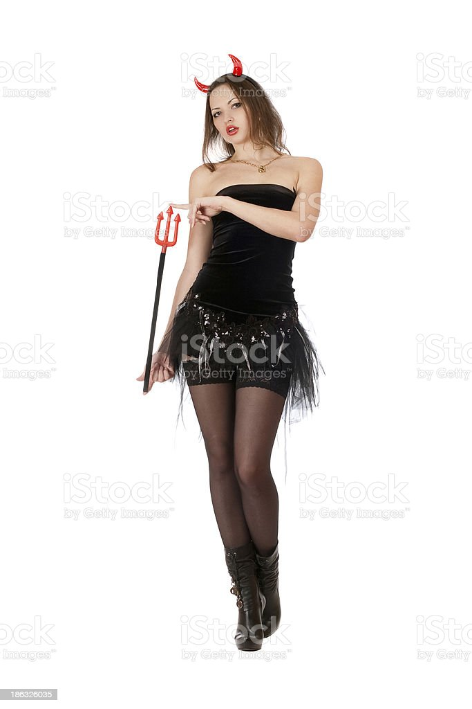 Nice girl is wearing a devil costume royalty-free stock photo